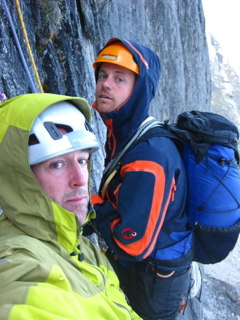 Sven and Barry Whale belay at the comfortable but small ledge below the chimney.
