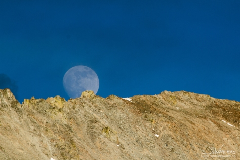 Supermoon rising east of Leadville, CO.